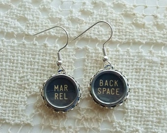 Antique Typewriter Key Earrings, MAR Rel and BACK SPACE, Silver Dangle Earrings, Black Vintage Glass Top, Upcycled Jewelry, Steampunk Style