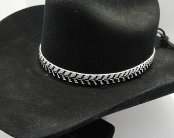 Geometric Beaded Hatband *Black & White*