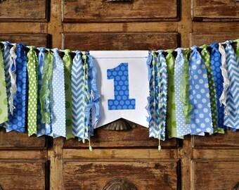 Light blue, medium blue & green first birthday highchair rag banner, boys fabric ONE banner, cake smash photo prop,high chair garland