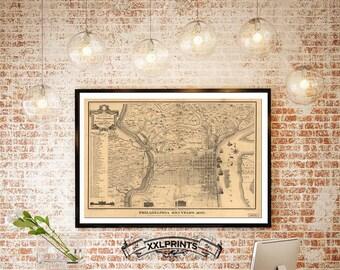 Antique map of Philadelphia, 1875, large map, antique decor, fine reproduction, fine art print