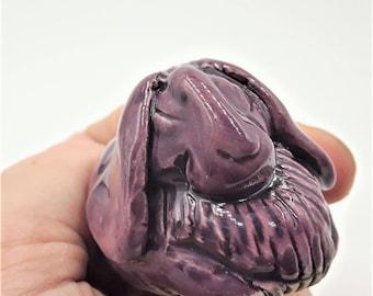 Little purple lop ear rabbit - porcelain hand sculpt