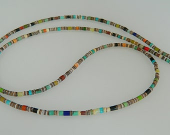 """Native American Santo Domingo Turquoise Multi Gemstone Sterling Silver Necklace Deanna Tenorio 27 1/4"""""""