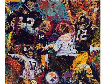 Pittsburgh sports painting, Terry Bradshaw, Pittsburgh Steelers painting, Football Print by Johno Prascak