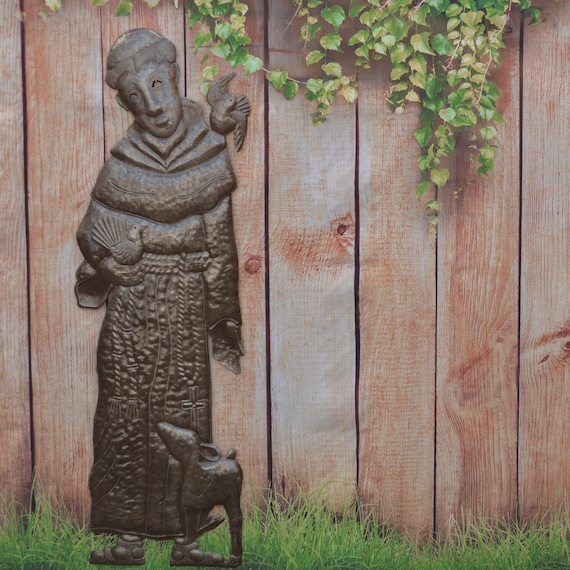 "Religious Praying Saint Francis Garden Statue Indoor & Outdoor Decor, Handmade in Haiti (11"" X 33"")"