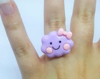 Kawaii ring with cloud, fairy kei, pastel goth ring, cute ring, cloud ring, sweet lolita, pink ring, kawaii ring, purple ring, lilac ring