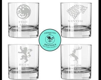 Game of Thrones Rocks Glass Set: Stark, Baratheon, Lannister and Targaryen set of FOUR etched rocks glasses juice glasses drinking glass