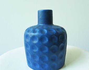 "1x Vase. Melitta. Blue. Matte. Blau. German Pottery. Keramik. Sixties. Midcentury. ""Graniniflasche"""