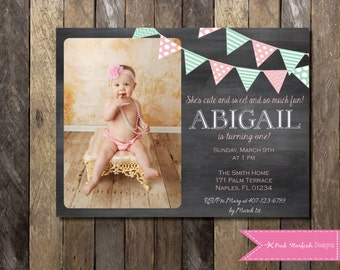 Chalkboard Birthday Invitation with Picture, Chalkboard First Birthday Invitation, First Birthday, Printable Invitation, Shabby Chic