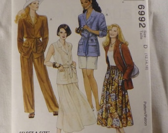 Easy McCall's 6992, Misses Wardrobe, Suiting, Casual Safari Style Jacket, Full Skirt, Pants and Shorts, Sz 12 - 16, Original Folds, Vintage