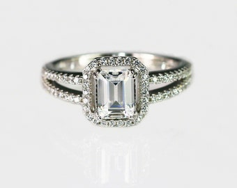 2.6 ct.tw  Sterling silver Emerald cut Halo Engagement Ring - Solitaire Ring - Promise Ring - CZ Wedding Ring - cubic zirconia rings