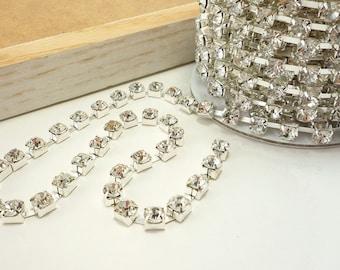Silver Rhinestone Chain, Clear Crystal, (6mm / 1 Foot Qty)