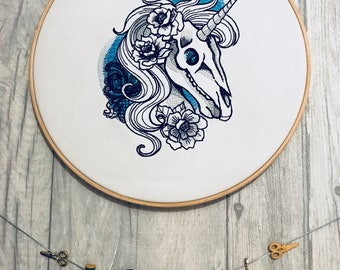 Unicorn Skull - Hooped Machine Embroidered Wall Hanging