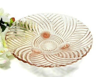 Anchor Hocking Pink Depression Glass Prismatic  Footed Console Bowl