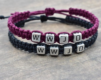 Set of WWJD Hemp Bracelets, Black and Purple Bracelets, Couples Bracelets, Best Friends Gift, Adjustable Bracelets, WWJD Gift