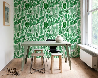 Greenery Botanical Removable Wallpaper - FREE SHIPPING - Wallpaper  Traditional or Self Adhesive Wallpaper - Green leaves Wallpaper #37