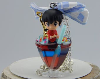 Ranma 1/2, Ranma, male, cocktail chain, with bow, for car, as decoration, key fob suitable, Japan fashion jewelry, anime