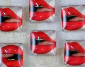 6 Mouth Lips Glass Cabochons 15mm Square (C456)