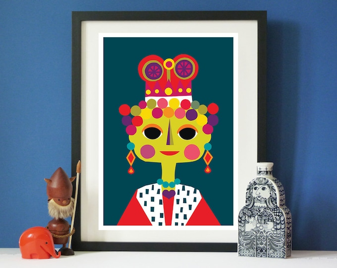 Queenie by Jay Kaye  A3 print  Bright  Colourful print wall Art Fun