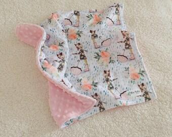 Lovey Blanket Baby Girl, Baby Girl Blanket, Baby Girl Lovey, Baby Girl Security blanket, Foxes Blanket, Minky Blanket, Baby shower gift