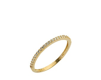 Half Eternity Wedding Band 14k Solid Gold Ring Stack Ring DHL Express Shipping