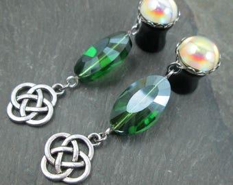"Dangle Plugs - 00g 10mm - 1/2"" 12mm - Celtic Knot Plugs - Dangle Gauges - Celtic Earrings - Rainbow Gauges - Plug Earrings"