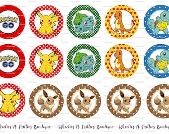Pokemon Go Pikachu Bulbasaur Charmander Squirtle Eevee Bottle Cap Images
