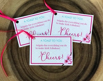 personalized cherry blossom / asian inspired gift tags