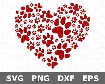 Paw Print Heart SVG / Dog Paw Print SVG / Paw Print SVG / Paw Print Vector / svg Files for Cricut / Silhouette Files