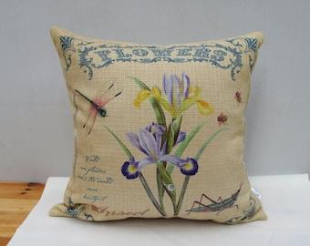 Flower  & Dragonfly Pillow Linen pillow cover Throw Pillow Cover decorative pillow cushion cover double sides design