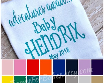 Personalized Newborn Onesie, Custom Baby Boy or Baby Girl Coming Home Outfit, Pregnancy Announcement Bodysuit, Infant Adventures Await