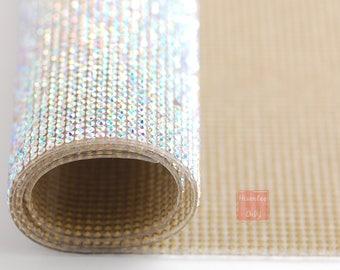 Hisenlee SS6 2mm 24cm*40cm Crystal Clear AB Hot Fix Wall Decoration Sheet Rhinestone fabric Stone Size iron-on Highest Quality Rhinestones