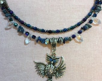 Owl pendant with denim lapis, hematite, Swarovski tear drops, and Czech beads in the Wise Woman series