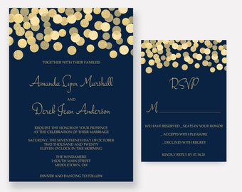 Navy and Gold Wedding Invitations, Gold Glitter Confetti Invites, Wedding Invitation Set - SAMPLE