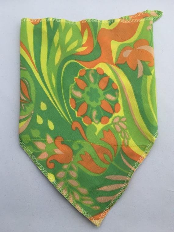 This is Vintage: Stash pocket bandana w/ uber-unique vintage 70's yellow, green, pink salmon, orange trippy flower print