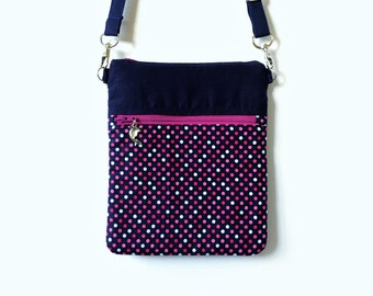 Crossbody Mini Bag, Pink Personalized Sling Bag, Pink Polka Crossbody bag - Navy Blue