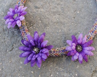 Purple Flowers Necklace Crocheted Necklace in Purple and Pastels