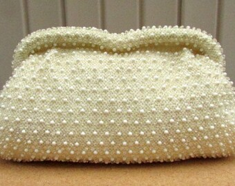vintage 50s champagne color beaded clutch purse evening bag corde bead by lumured made in usa