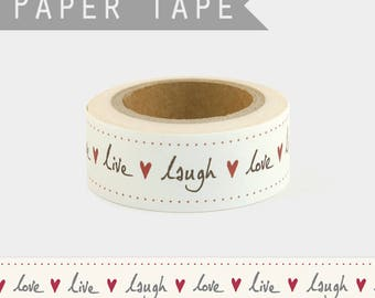 10 m washi tape Live Laugh Love / masking tape black and Red