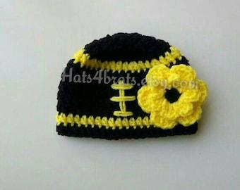 Pittsburgh Steelers Hat, Baby Girl Steelers Hat, Newborn Football Hat, Baby Pittsburgh Steelers, Crochet Steelers Baby Hat, Steelers Photo