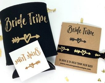 Bachelorette Party Favors // Bridesmaid Gift // Bachelorette Gift Set, Temporary Tattoos, Can Coolers, Bride Tribe, Bachelorette Hair Ties