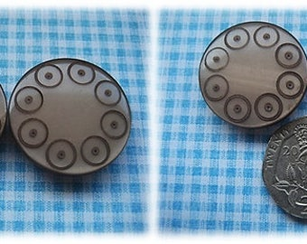 Taupe Circle Patterned Buttons 1960's