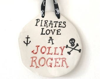 Jolly Roger Wall Plaque - Pirates - Ceramic Plaque - Pottery Plaque
