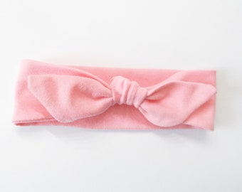 Headband Pretty Carnation Pink Jersey Knit Knotted Headwrap Baby Toddler Child Adult