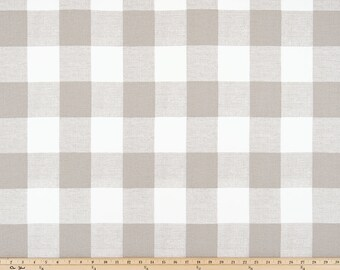 SHIPS SAME DAY Taupe Beige Buffalo Check Fabric, Anderson Ecru Drapery Fabric, Ecru White Plaid Check Fabric Plaid Upholstery Fabric by yard