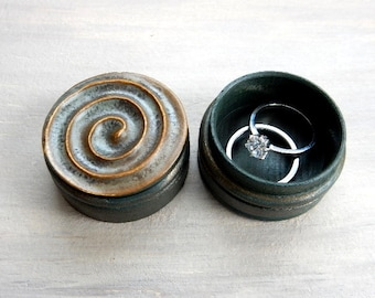 Mens Ring Box Valentines Day Jewelry Keepsake Unique Birthday Gift for Him Trinket Treasures Handmade Swirl Pottery Earthy Hand Crafted