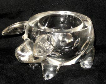 Glass Clear Pig Small Bowl, Trinket Coin Dish, or Candle Holder ~ Round Body