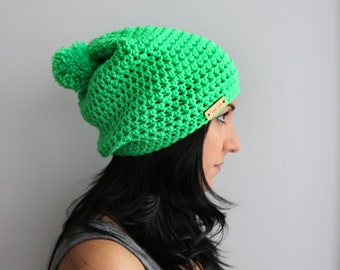 Pom Pom Slouchy Beanie, Electric Neon Green Slouchy Beanie Hat,  Vibrant Neon EDM Fashion Accessories, The Philly Beanie in Green