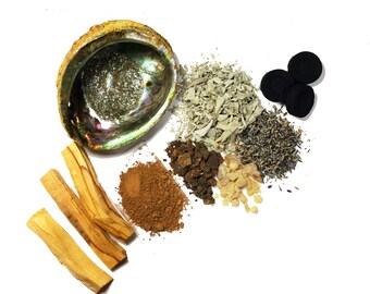 Smudge Kit, Smudge Supplies, Abalone Shell, Palo Santo, Spirit Cleansing, Cleansing Kit, Protection Prayer Ceremony Smudge Supplies Kit
