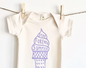 Ice Cream Cone Stay Forever Summer Screen Printed Organic Cotton Baby Bodysuit