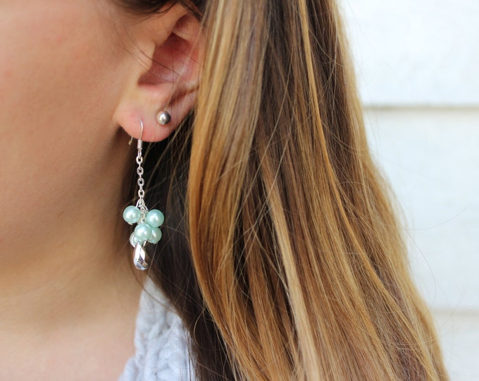 Turquoise and Silver Cluster Drop Earrings.
